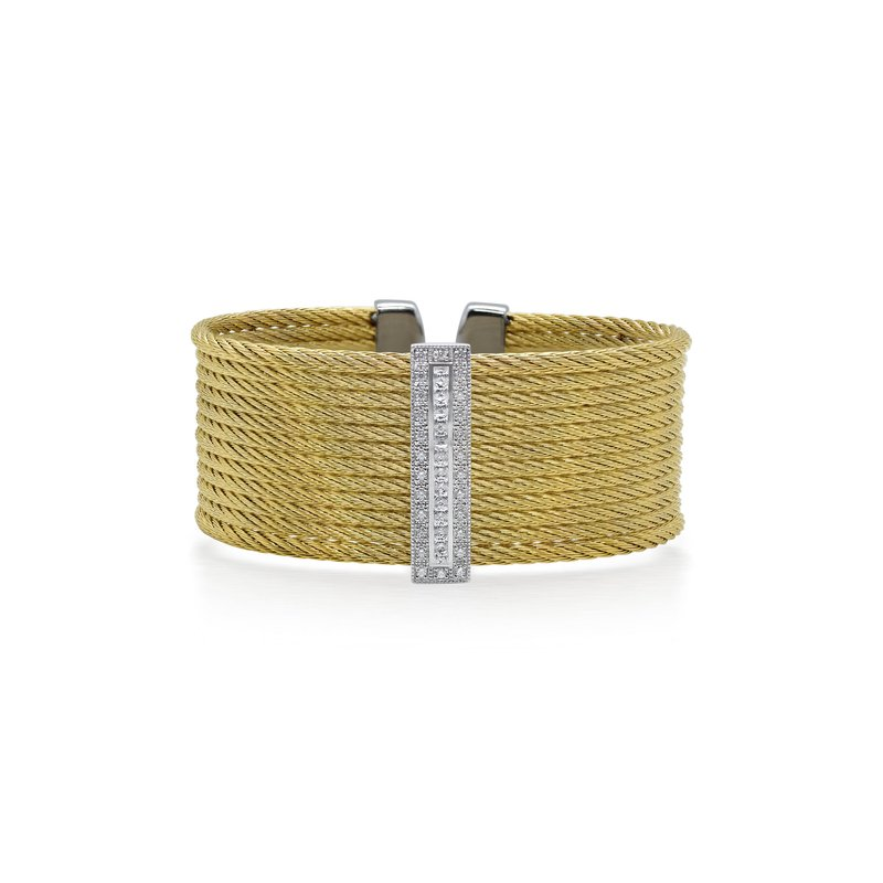 ALOR Limited Edition 40th Anniversary Cuff with Yellow Cable & Diamonds set in 18kt White Gold
