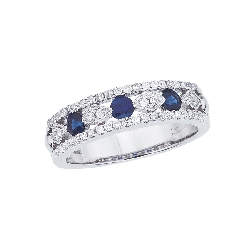 Color Merchants 14k White Gold Sapphire and Diamond Band