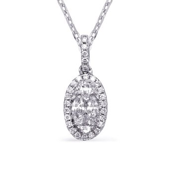 White Gold Diamond Necklance Bezel Set