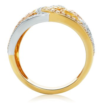 Tri-Colored Swirling Diamond Ring
