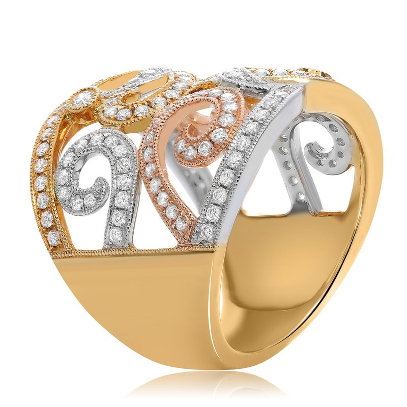 Roman & Jules Tri-Colored Swirling Diamond Ring
