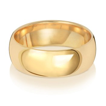 9Ct Yellow Gold 7mm Traditional Court Wedding Ring