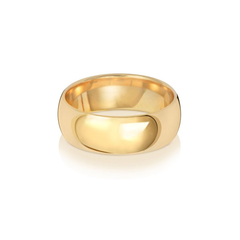 Treasure 9Ct Yellow Gold 7mm Traditional Court Wedding Ring