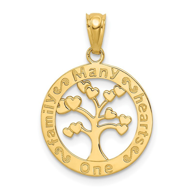Quality Gold 14k Polished ONE FAMILY MANY HEARTS Tree Pendant