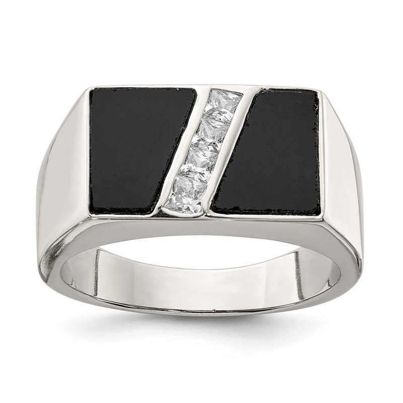 Quality Gold Sterling Silver Rhodium-plated Men's CZ and Onyx Ring