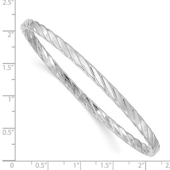 14K White Gold 4mm Textured Twist Slip-on Bangle