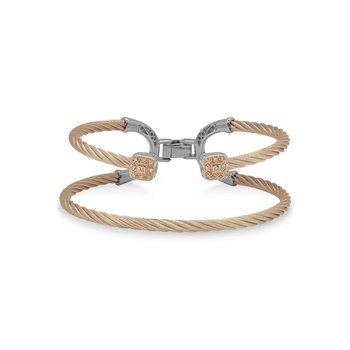 Carnation Cable Balance Bracelet with 18kt Rose Gold & Dual Square Diamond Stations
