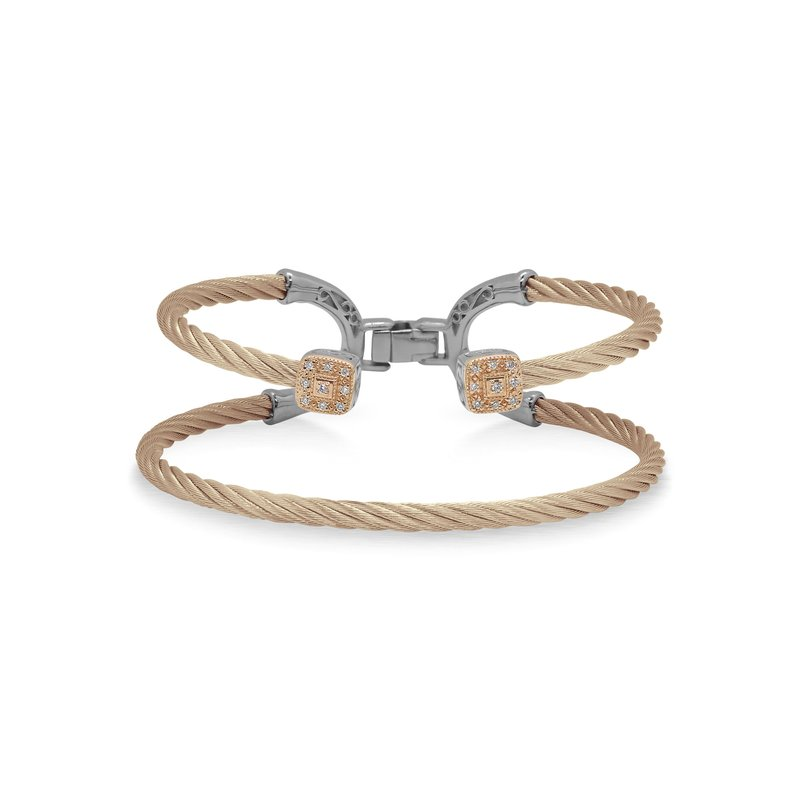 ALOR Carnation Cable Balance Bracelet with 18kt Rose Gold & Dual Square Diamond Stations