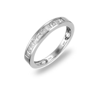 14K WG Diamond Princes Cut Wedding Band Ring