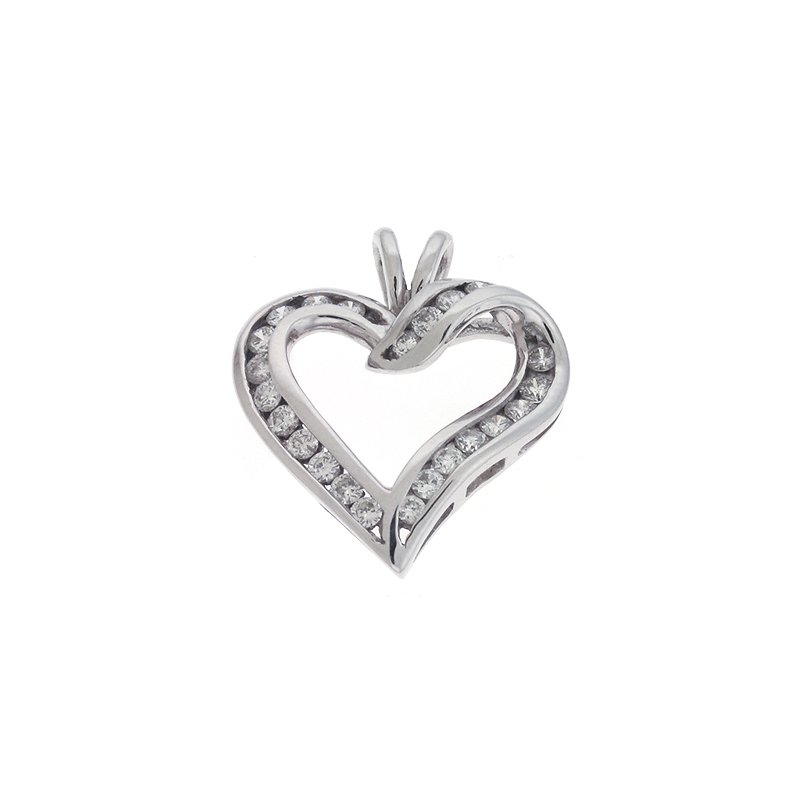 Briana Channel Set Heart Pendant