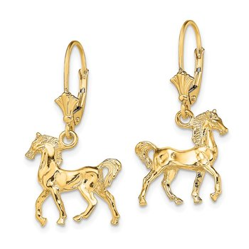 14K 3-D Polished Leverback Horse Earrings
