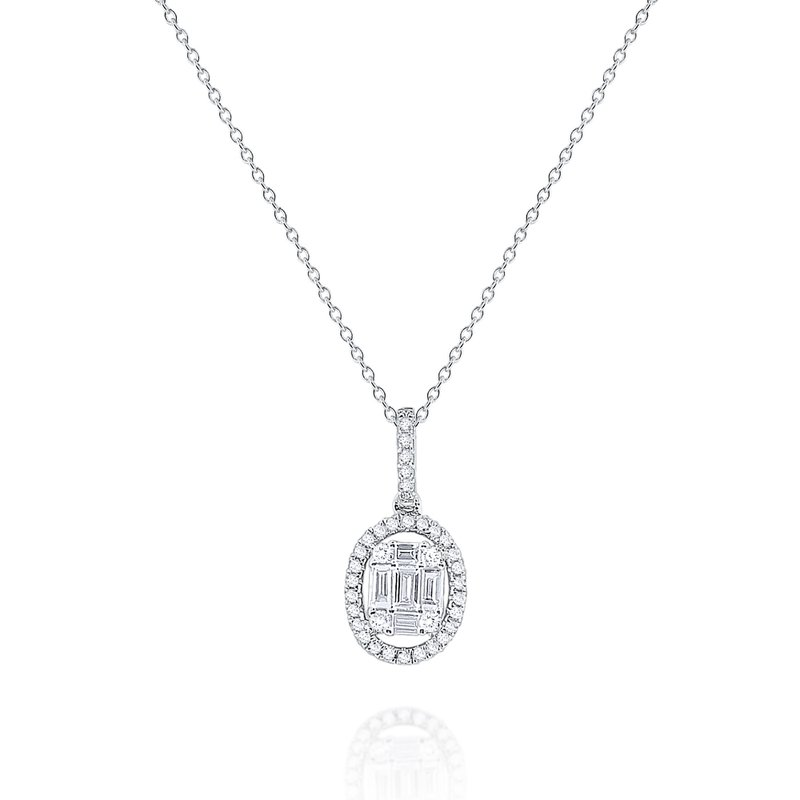 MAZZARESE Fashion Diamond Mosaic Oval Pendant Set in 14 Kt. Gold