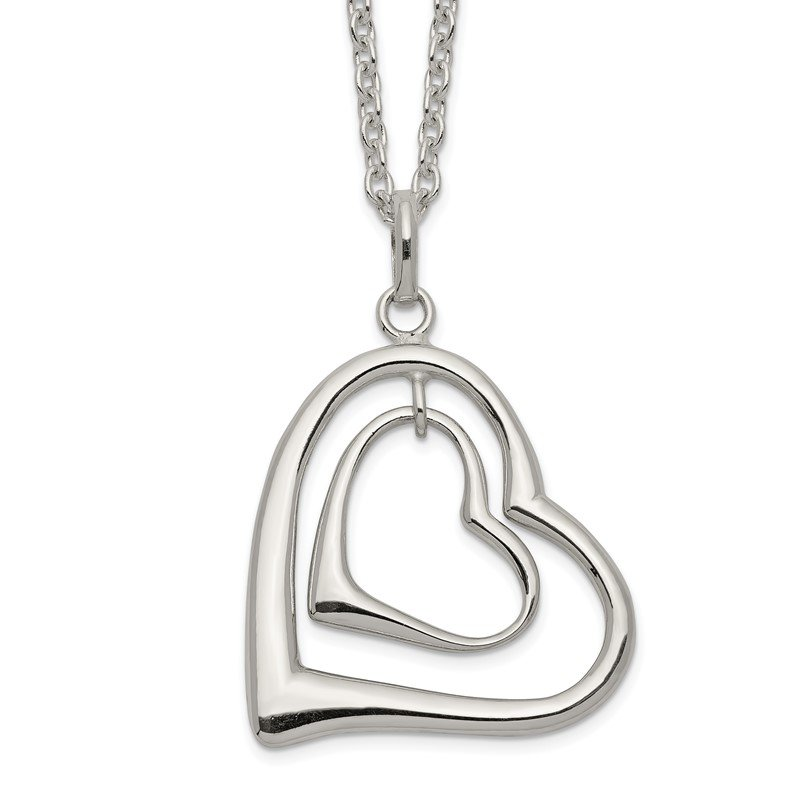 Quality Gold Sterling Silver Double Heart Necklace