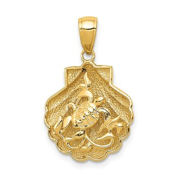 14k Sea Turtle in a Shell Pendant
