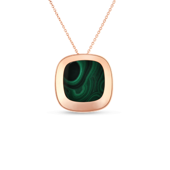 18Kt Gold Large Pendant With Malachite