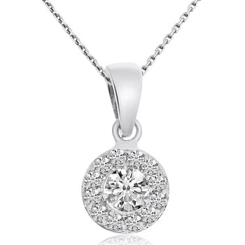 14k White Gold Halo Diamond Pendant (0.48 CT)