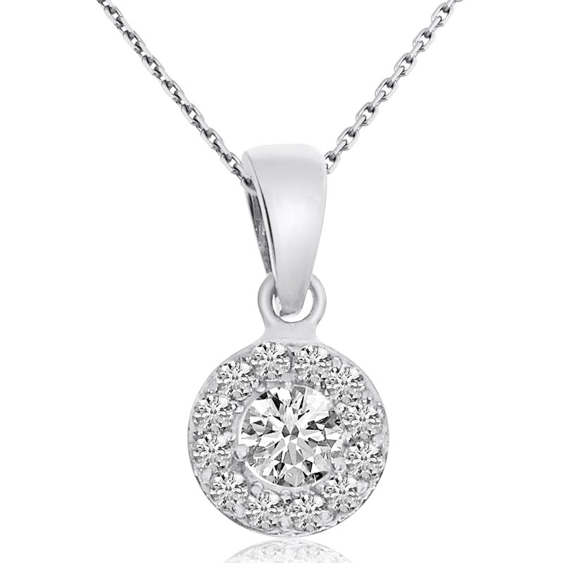 Color Merchants 14k White Gold Halo Diamond Pendant (0.48 CT)