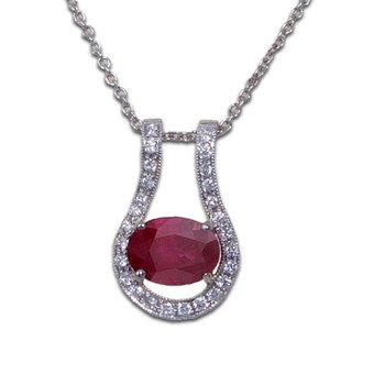 Oval Ruby Slide Pendant