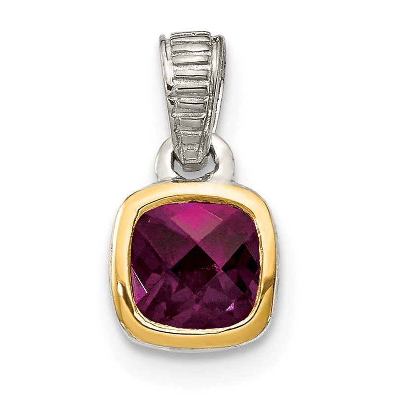 Quality Gold Sterling Silver w/ 14K Accent Rhodolite Garnet Pendant
