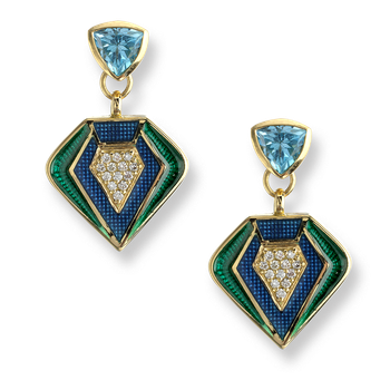 18 Karat Gold Modern Drop Earrings-Turquoise.  Diamonds, Blue Topaz.