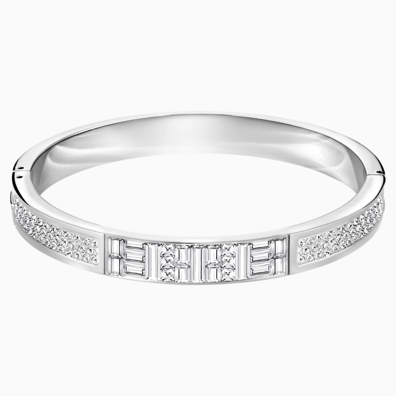Swarovski Ethic Narrow Bangle, White
