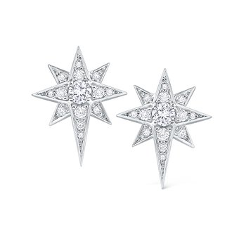14K Gold and Diamond Starburst Earrings
