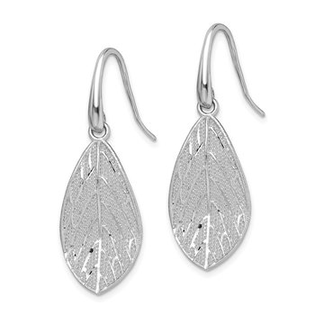 Sterling Silver Rhodium-plated Polished Leaf Dangle Earrings