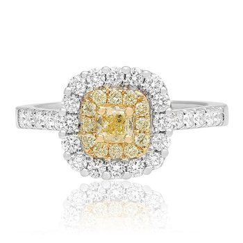 Double Halo Cushion Cut Diamond Ring