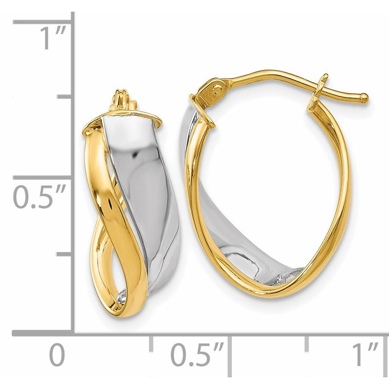 Leslie's Leslie's 14K Two-tone Polished Hinged Hoop Earrings