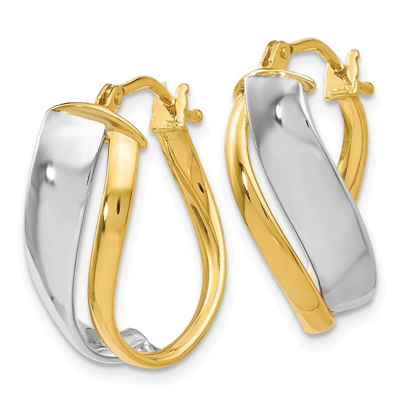 JC Sipe Essentials Leslie's 14K Two-tone Polished Hinged Hoop Earrings