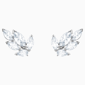 Louison Stud Pierced Earrings, White, Rhodium plated