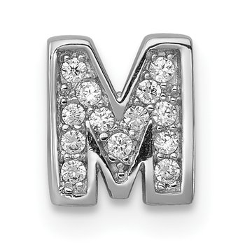 Sterling Silver Rhodium-plated CZ Letter M Initial Slide Charm