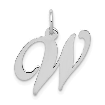 14K White Gold Medium Fancy Script Letter W Initial Charm