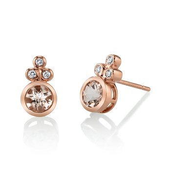 MARS 27256 Stud Earrings, 0.08 Dia, 0.81 Morganite