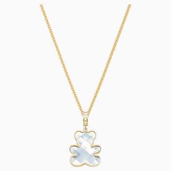 Teddy Pendant, White, Gold-tone plated
