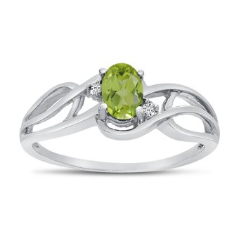 10k White Gold Oval Peridot And Diamond Curve Ring