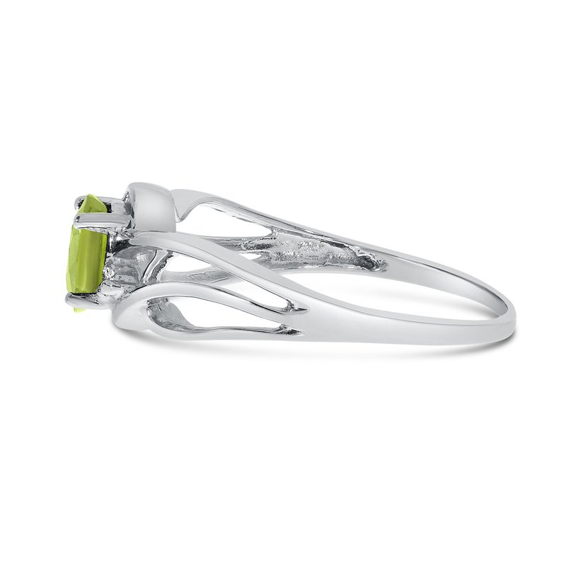 Color Merchants 10k White Gold Oval Peridot And Diamond Curve Ring