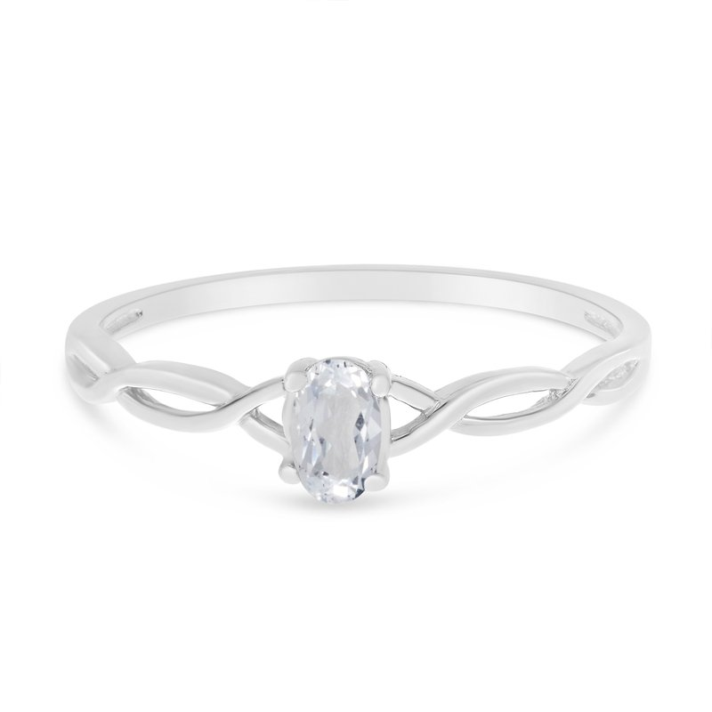 Color Merchants 10k White Gold Oval White Topaz Ring