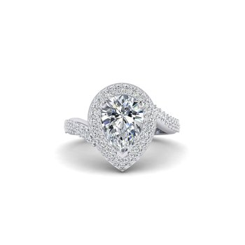 OMG Series Bypass Pear Shaped Diamond Engagement Ring