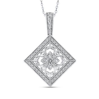 10K White Gold 1/2 Ct Diamond Fashion Pendant with Chain