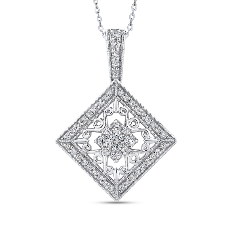 Essentials 10K White Gold 1/2 Ct Diamond Fashion Pendant with Chain