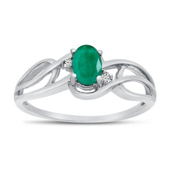 10k White Gold Oval Emerald And Diamond Curve Ring