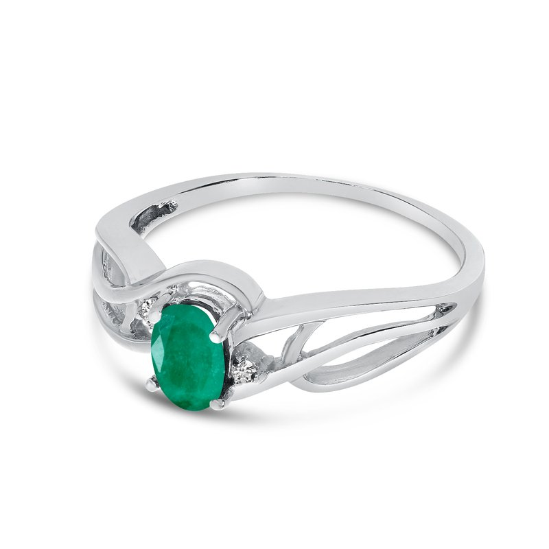 Color Merchants 10k White Gold Oval Emerald And Diamond Curve Ring