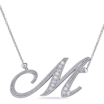 White Gold Diamond Initial M Pendant