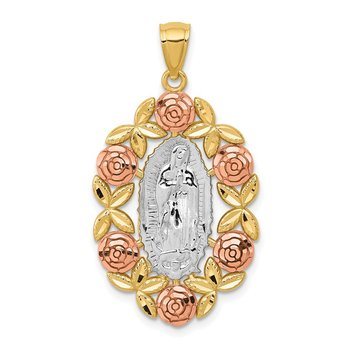 14K Two-Tone w/White Rhodium Lady Of Guadalupe Pendant