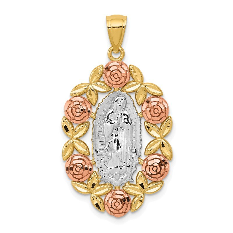 Fine Jewelry by JBD 14K Two-Tone w/White Rhodium Lady Of Guadalupe Pendant
