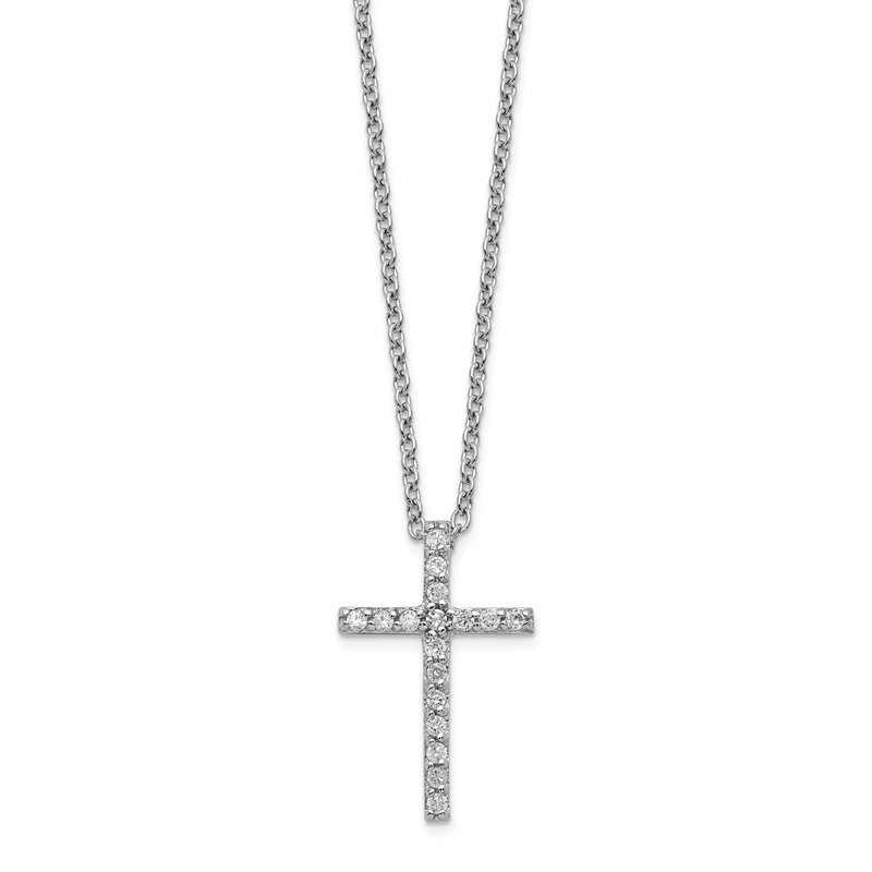 Cheryl M Cheryl M Sterling Silver Brilliant-cut CZ Cross 18in. Necklace