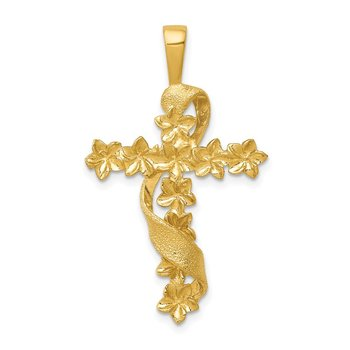 14k Polished and Textured Flower Cross w/Ribbon Pendant