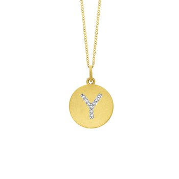"Diamond Disc Initial ""Y"" Necklace in 14k Yellow Gold with 9 Diamonds weighing .05ct tw."