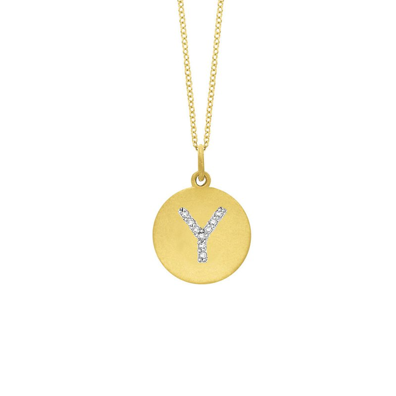 "KC Designs Diamond Disc Initial ""Y"" Necklace in 14k Yellow Gold with 9 Diamonds weighing .05ct tw."